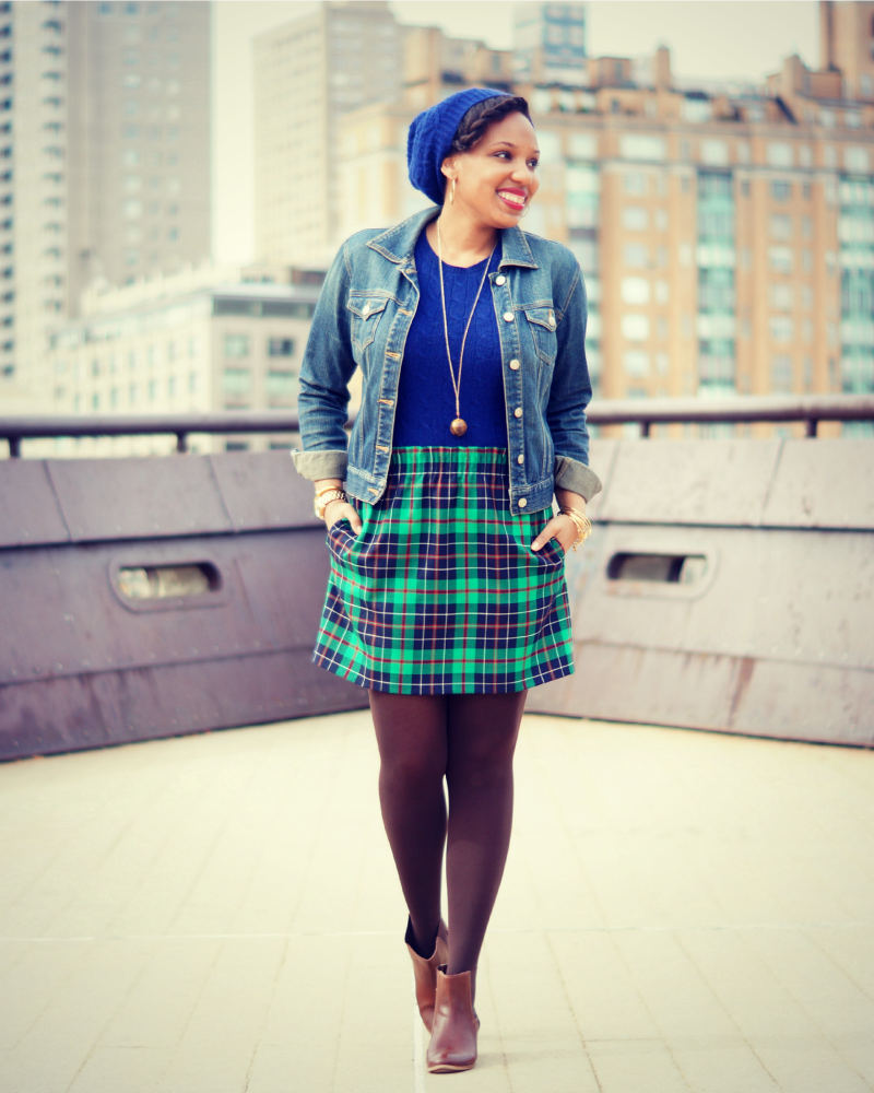 Old Navy Denim Jacket and J. Crew Tartan Mini