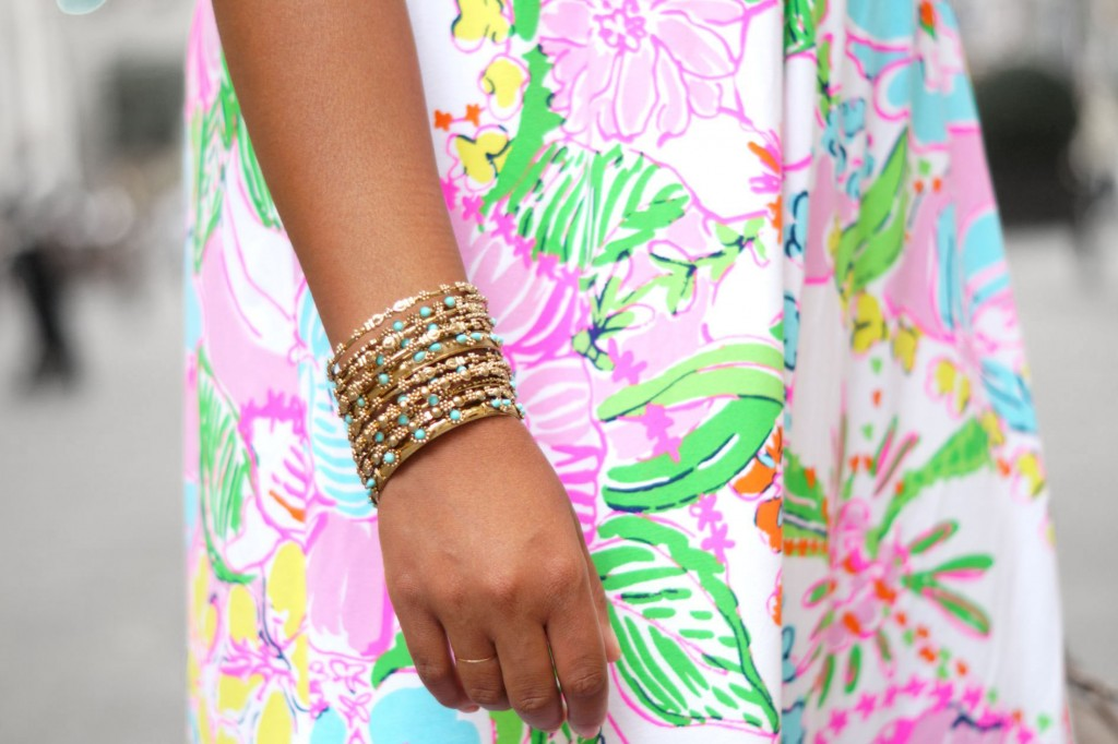 Lilly Pulitzer for Target Maxi Dress + Amrita Singh Bracelets