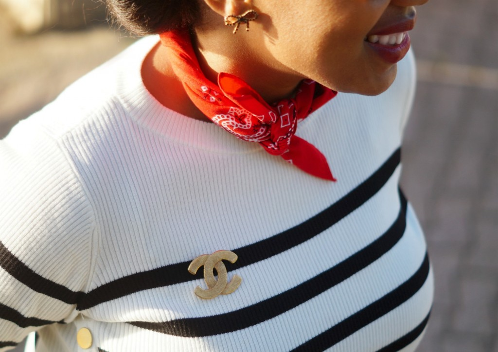 Sailor Striped Sweater + Vintage Chanel Brooch