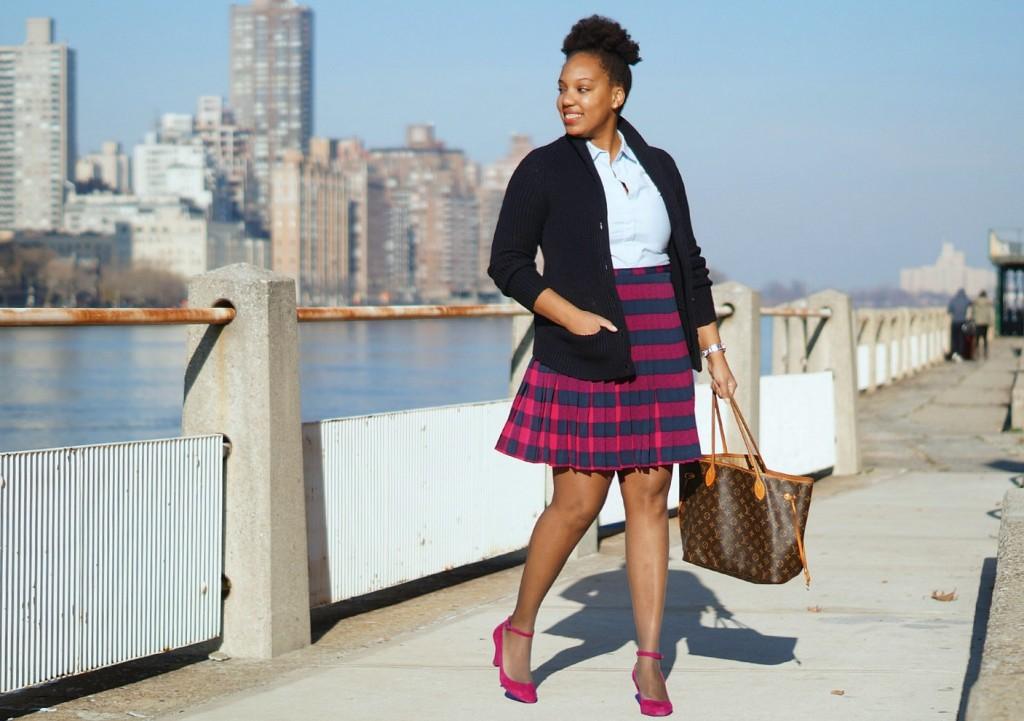 Pleated Buffalo Plaid Skirt