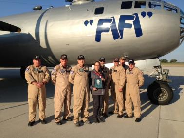 "Picture of Kit and the crew of the B-29 Superfortress ""FIFI"" at the Great Bend Airport Air Fest on September 2015."