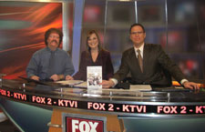 Here I am on the Fox television network with anchors Andy Banker and Teresa Woodard.