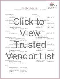 Boise Home Owner's Trusted Vendor List
