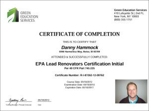 EPA Lead Renovators Certification