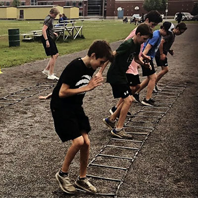 Young Athletes doing ladder drills
