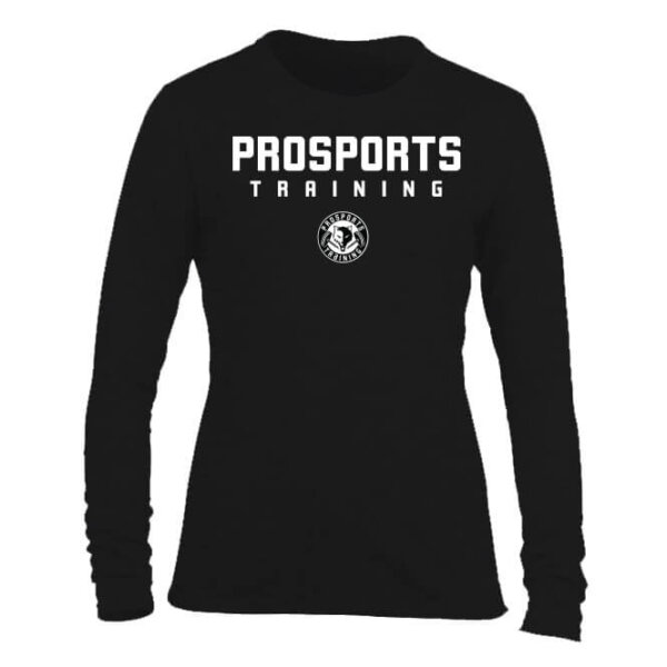 An image of a black women's Pro Sports Training Long Sleeve T-shirt