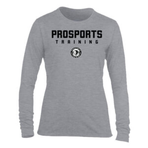 An image of a grey women's Pro Sports Training Long Sleeve T-shirt