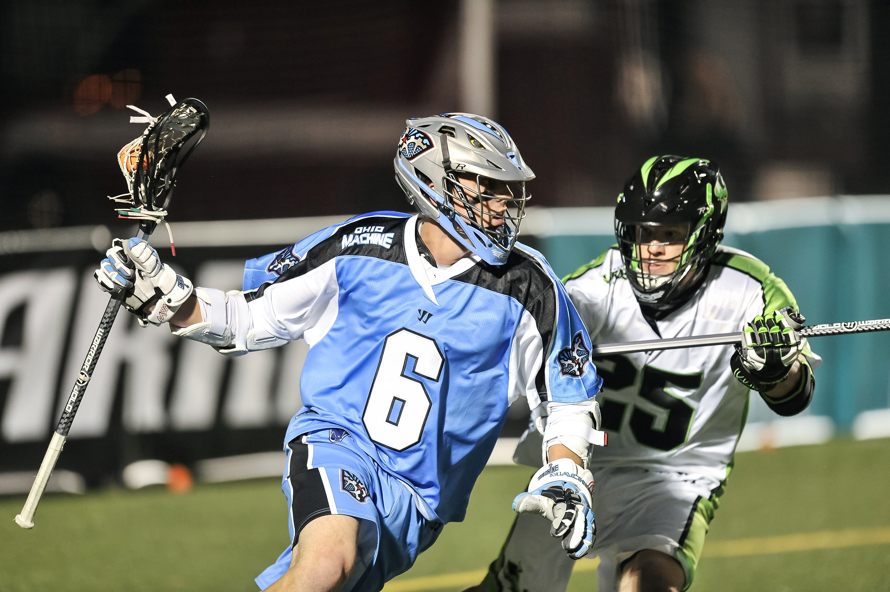 DELAWARE, OH - MAY 18:  Steele Stanwick #6 of the Ohio Machine controls the ball against the New York Lizards on May 18, 2013 at Selby Stadium in Delaware, Ohio.  (Photo by Jamie Sabau/Getty Images)