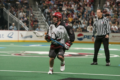December 30, 2006  Gavin Prout #9  of  the Colorado Mammoth with 20-15 victory over the visiting Rochester Knighthawks at the Pepsi Center in Denver, Colorado.