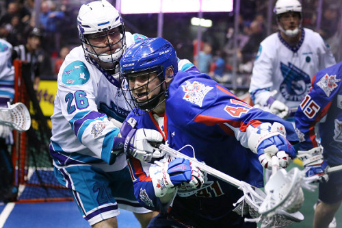 TORONTO, ON- JANUARY 14:  Dan Lintner gets away from Stephen Keogh as the Toronto Rock play the Rochester Knighthawks  at the  Air Canada Centre in Toronto. January 14, 2016.        (Steve Russell/Toronto Star via Getty Images)