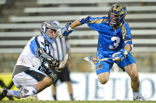 CHARLOTTE, NC - JUNE 05: Brendan Fowler #3 of the Charlotte Hounds wins a face-off against Greg Puskuldjian #94 of the Ohio Machine during their game at American Legion Memorial Stadium on June 5, 2015 in Charlotte, North Carolina. Ohio won 14-12. (Photo by Grant Halverson/Getty Images)