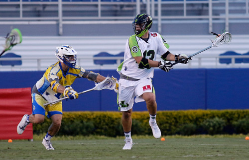 BOCA RATON, FL - JUNE 26: Ryan Walsh #43 of the New York Lizards looks to pass against a Florida Launch defender at FAU Stadium on June 26, 2015 in Boca Raton, Florida. (Photo by Joe Skipper/Getty Images)