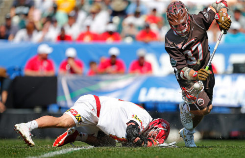 PHILADELPHIA, PA - MAY 28: Ted Ottens #37 of the Brown Bears controls the ball off the face-off from Austin Henningsen #18 of the Maryland Terrapins in the first quarter during a semi final match in the NCAA Division I Men's Lacrosse Championship at Lincoln Financial Field on May 28, 2016 in Philadelphia, Pennsylvania. (Photo by Rich Schultz/Getty Images)
