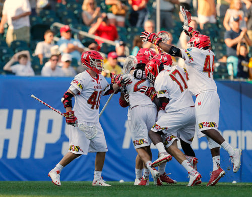 PHILADELPHIA, PA - MAY 28: Colin Heacock #2 of the Maryland Terrapins is mobbed by teammates after his game winning goal in overtime for a 15-14 win over the Brown Bears during a semi final match in the NCAA Division I Men's Lacrosse Championship at Lincoln Financial Field on May 28, 2016 in Philadelphia, Pennsylvania. (Photo by Rich Schultz/Getty Images)