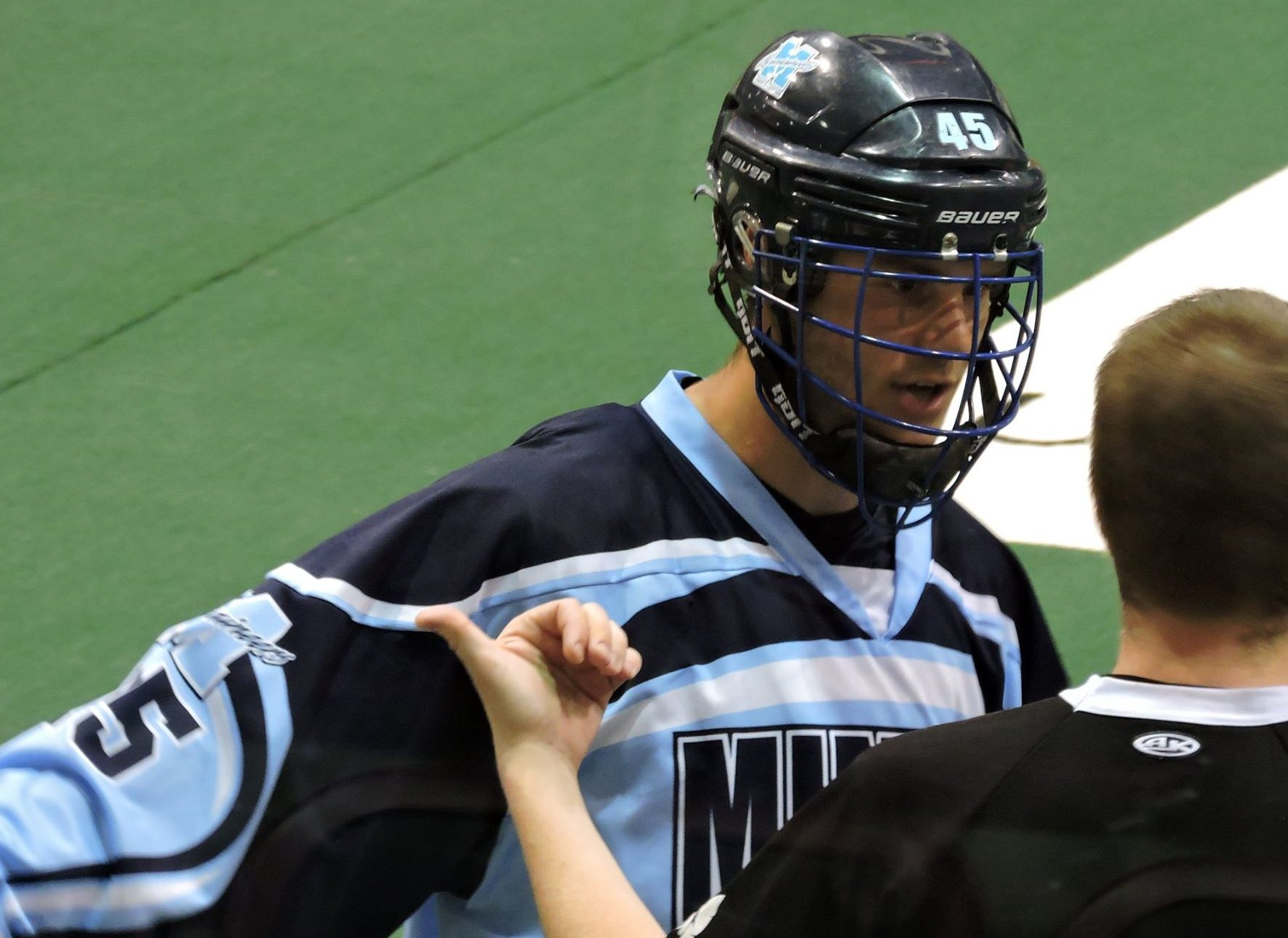 James Barclay of the Mimico Mountaineers chats with referee Andrew Ecclestone during OJALL action on June 6, 2017. (Photo credit: Anna Taylor)