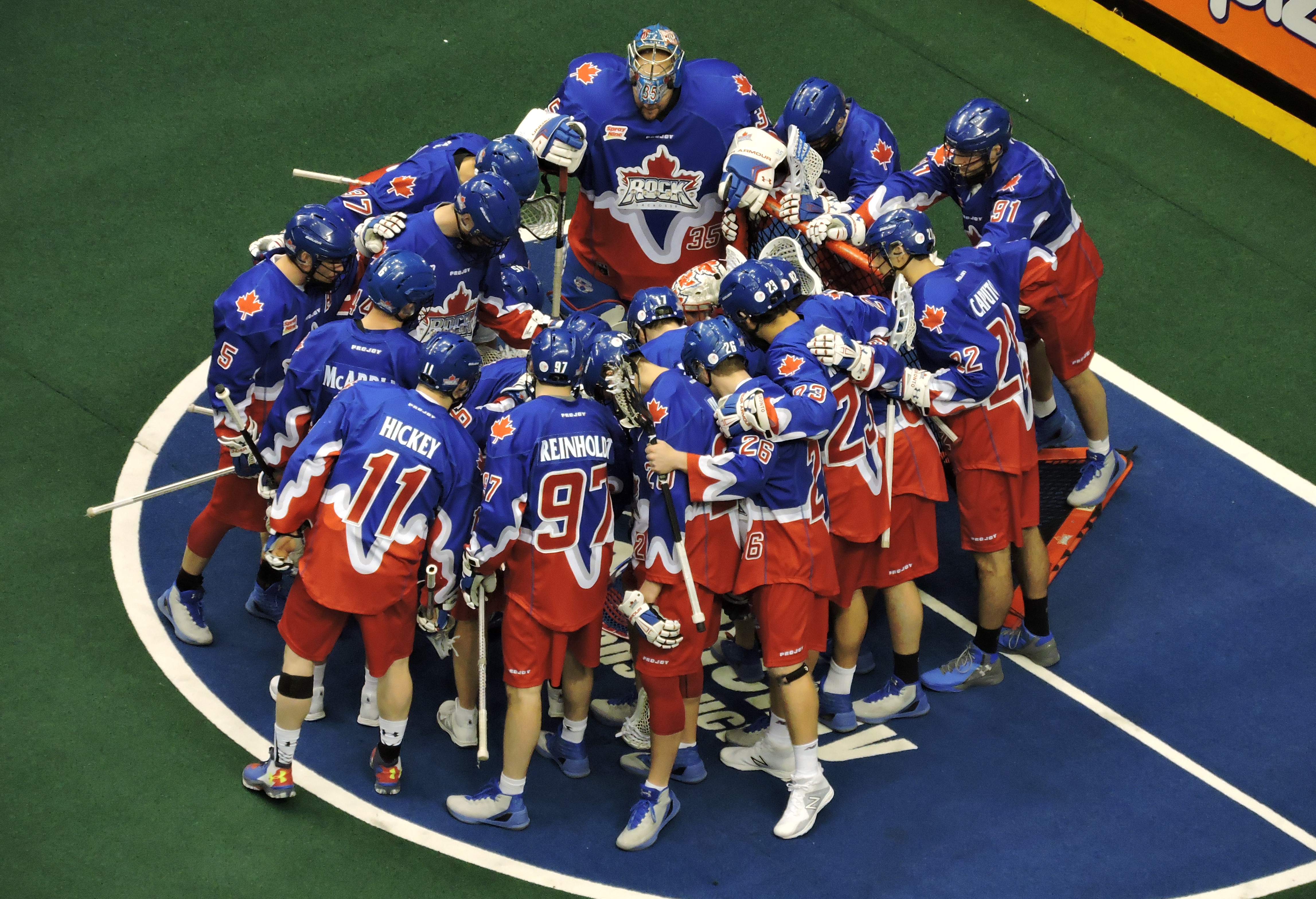 The Toronto Rock prepare to host the Calgary Roughnecks on March 11, 2017 at the Air Canada Centre. (Photo credit: Anna Taylor)