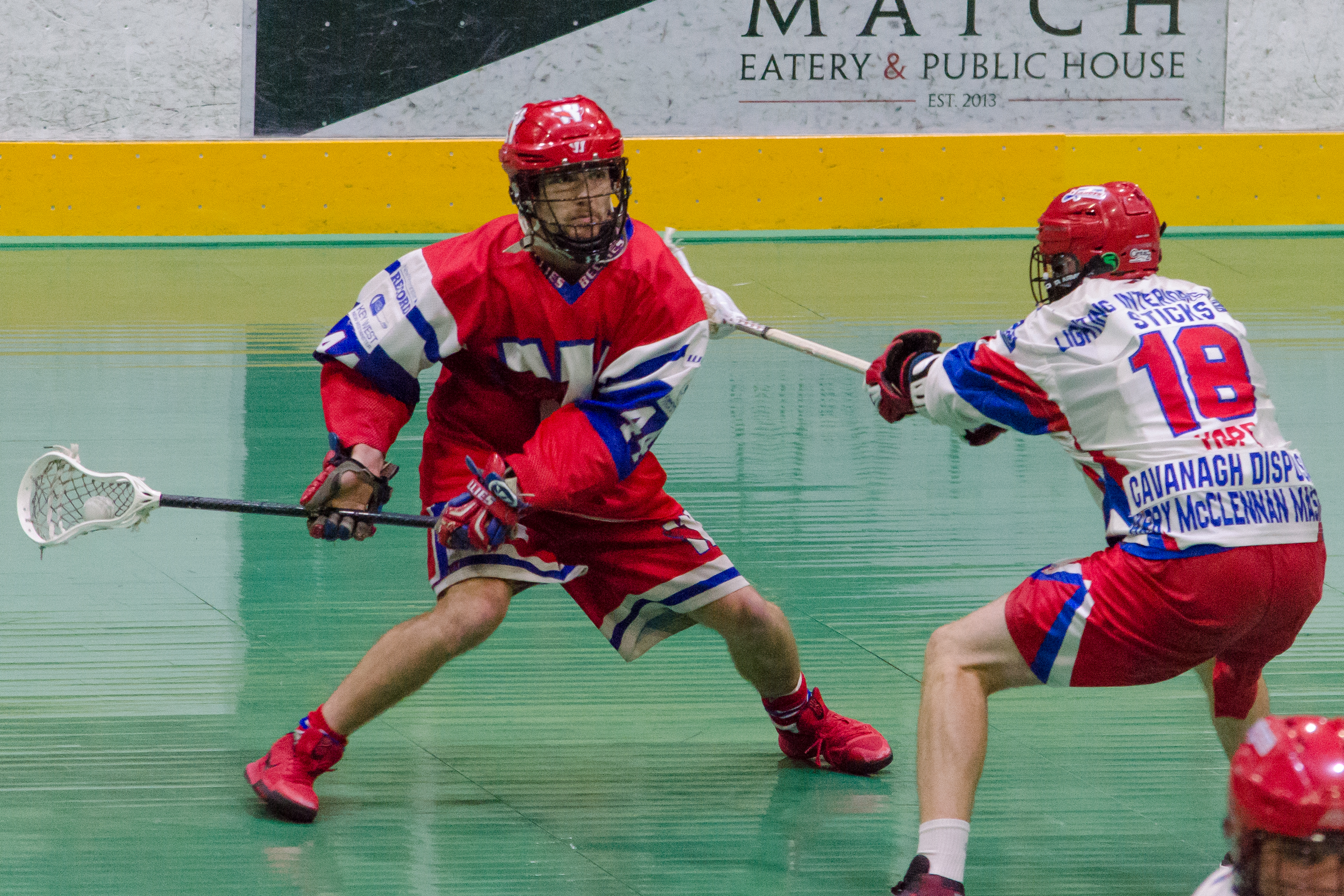 Anthony Malcolm of the New Westminster Salmonbellies during game two of the 2017 Mann Cup.