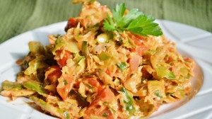 Shredded Brussels Sprout Salad with Roasted Red Pepper Aioli