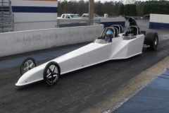 White 3 Seater Dragster from Race Tech On the Drag Strip