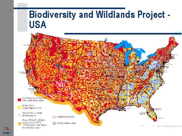 Figure 3. Map of proposed new, federally-controlled land designations based on the Wildlands Project