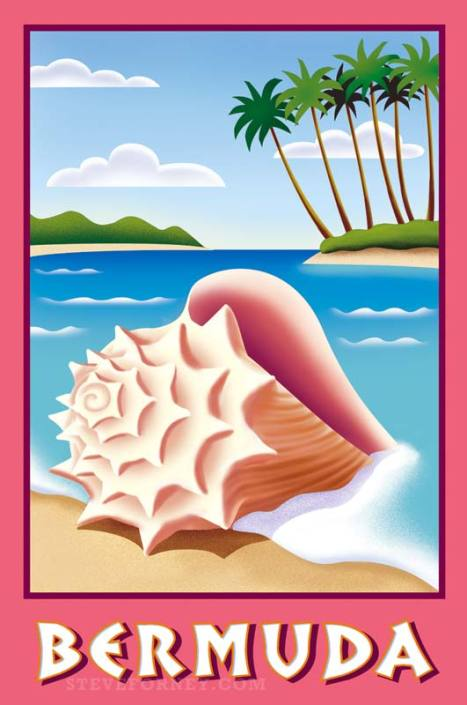 bermuda beach conch shell poster