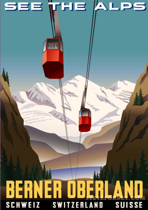 gondola cars in the Swiss Alps