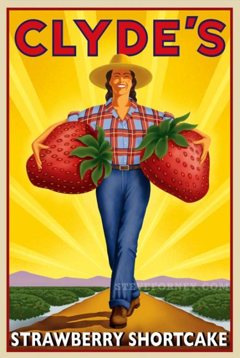 woman in field with giant strawberries