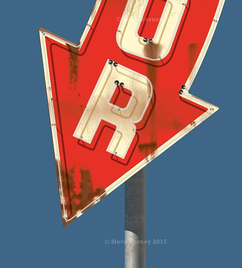 liquor arrow sign rust