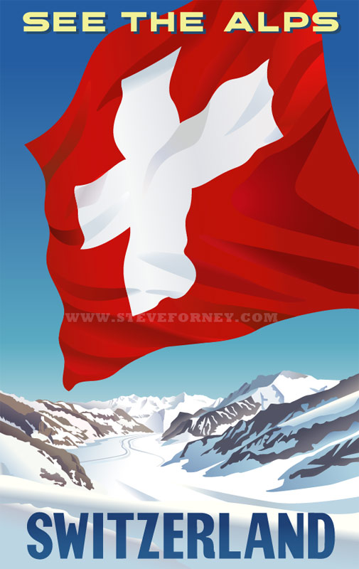 Swiss alps poster with a huge Swiss flag