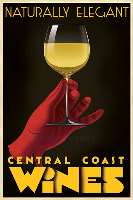 A red gloved hand holds a glass of white wine from California's central Coast
