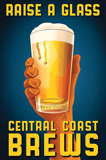 A hand holds a pint glass of beer from California's central coast