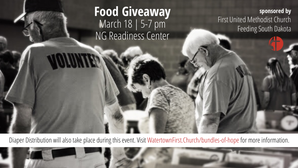 Watertown First United Methodist Church partnering with Feeding SD on March 18 to distribute food and diapers to those in need.