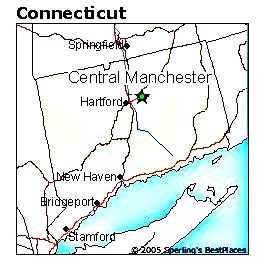 Image of a map of Connecticut focusing on Central Manchester