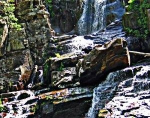 Image of waterfall over rocks