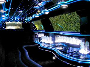 Image of interior of corporate Lincoln Town Car stretch limousine