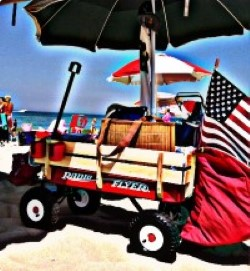 Image of a wagon and American flag at the beach