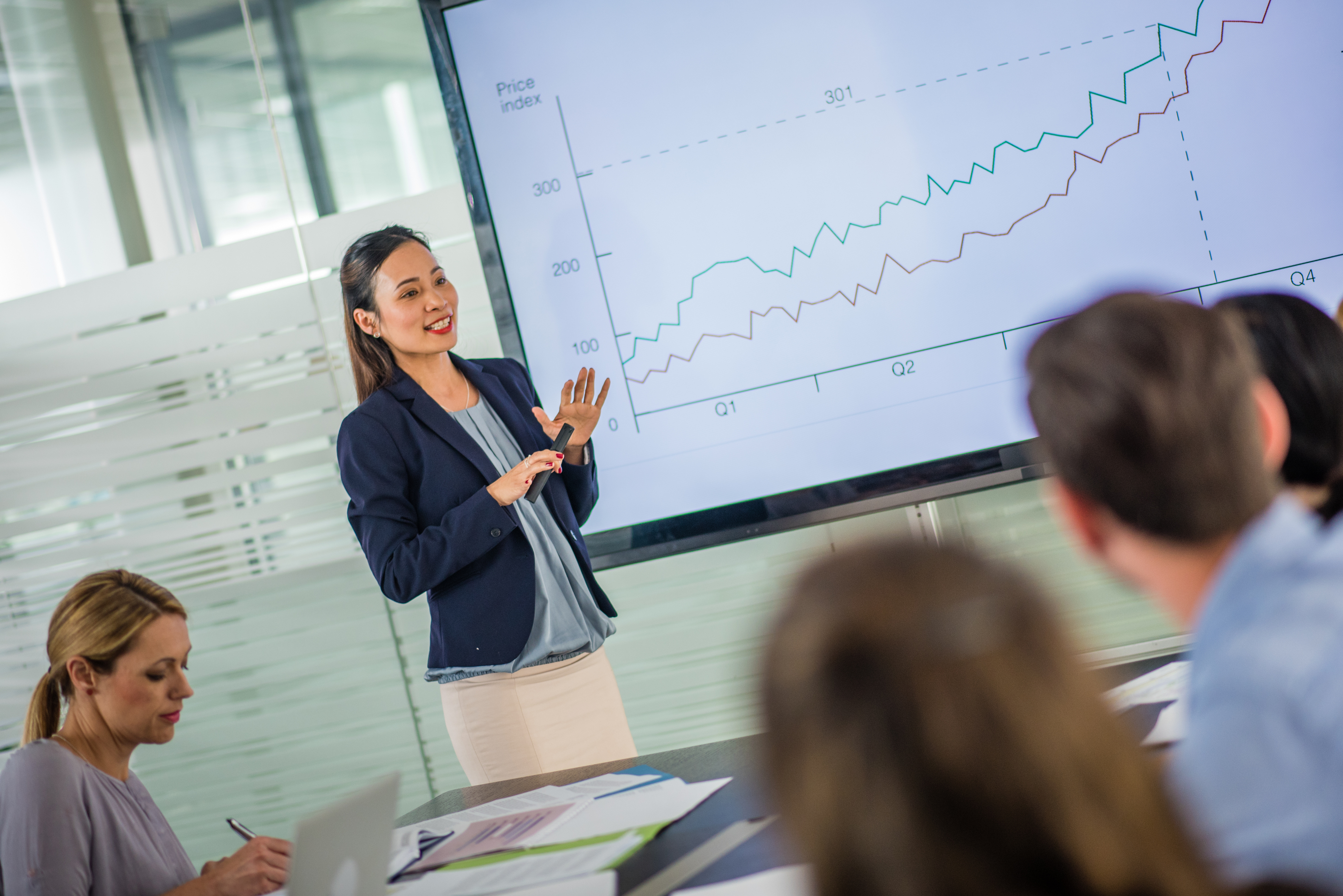 fund accounting woman giving presentation