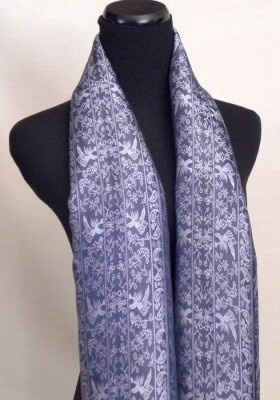 Silk Satin Scarf in Black and Silver