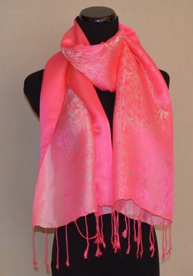 Pink Silk Satin Scarf in Nature Design