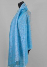 silk shawl with blue floral pattern