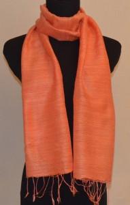 Tangerine Raw Silk Scarf