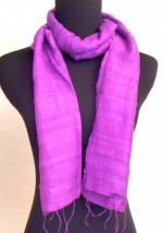 Purple raw silk scarf