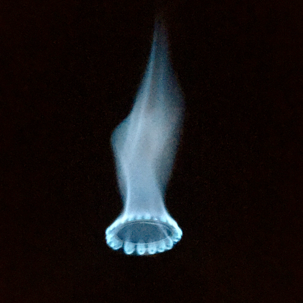 High, blue flame from a DIY denatured alcohol stove.