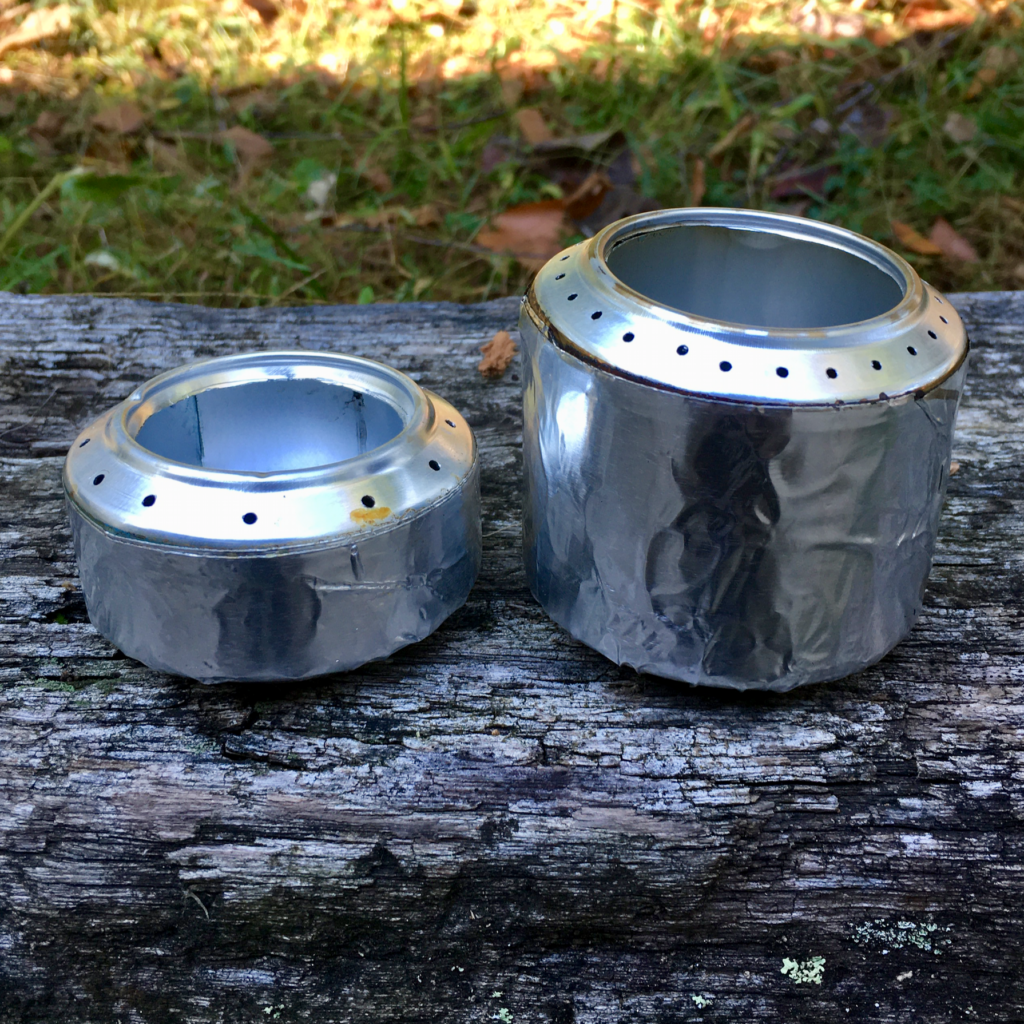 Two versions of theDIY denatured alcohol stove.