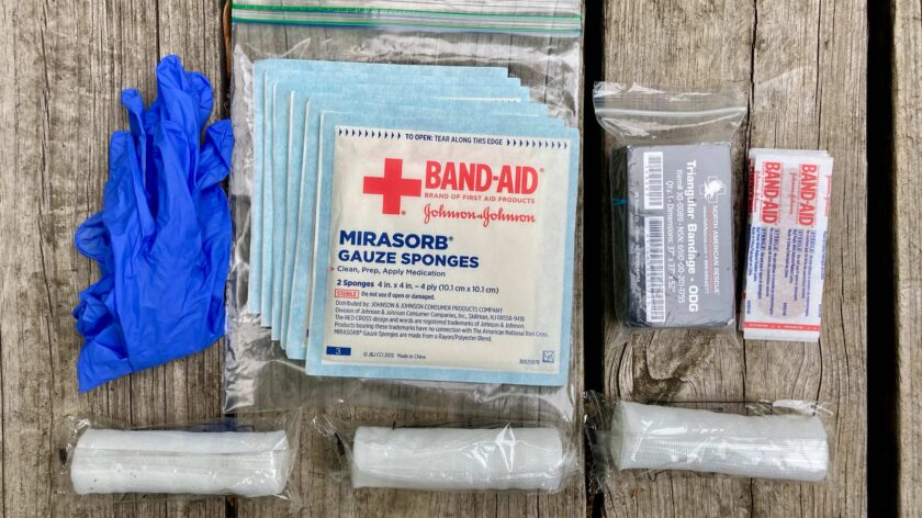 The contents of the basic first aid kit.