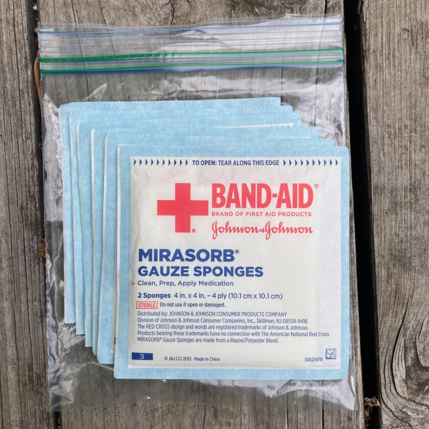4x4 dressings found in the basic first aid kit.