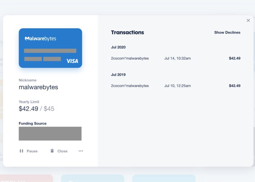 A screenshot of privacy.com transactions.