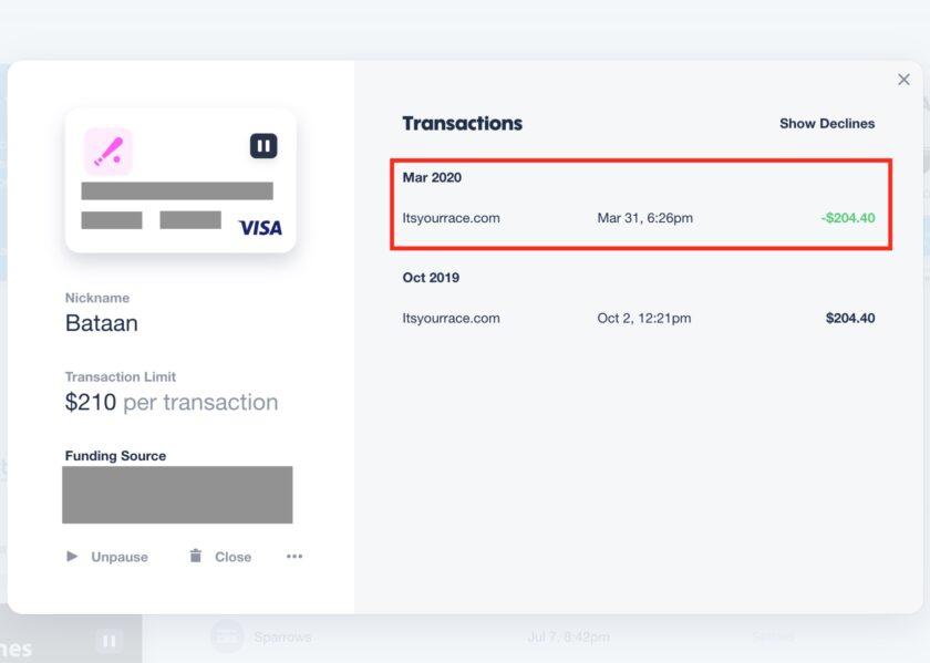 A refund processed through Privacy.com.