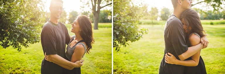 photo of couple in beautiful leaves at sunset in freeland