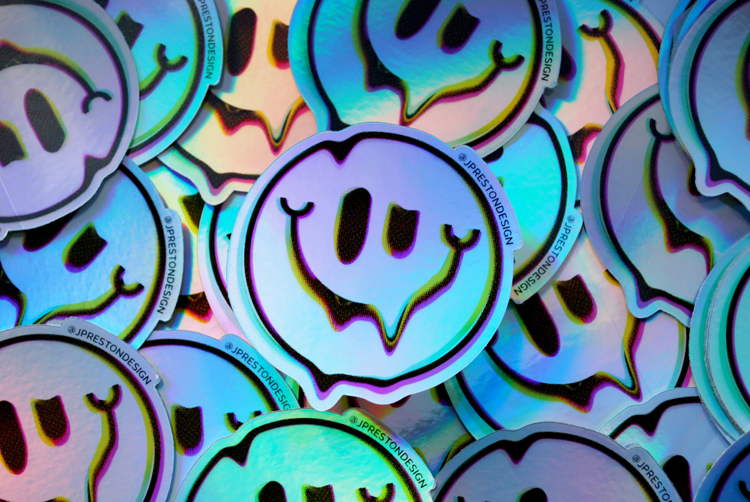 Holographic smiley Sticker